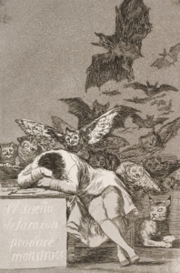 © Francisco José de Goya, Der Schlaf der Vernunft gebiert Ungeheuer, 1797-1799